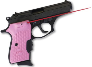 Picture shows a Bersa Thunder .380 pistol with pink lasergrip.