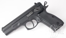 Picture shows the left side of a CZ 75 handgun.