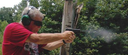 Bob Campbell shooting the Honor Defense pistol