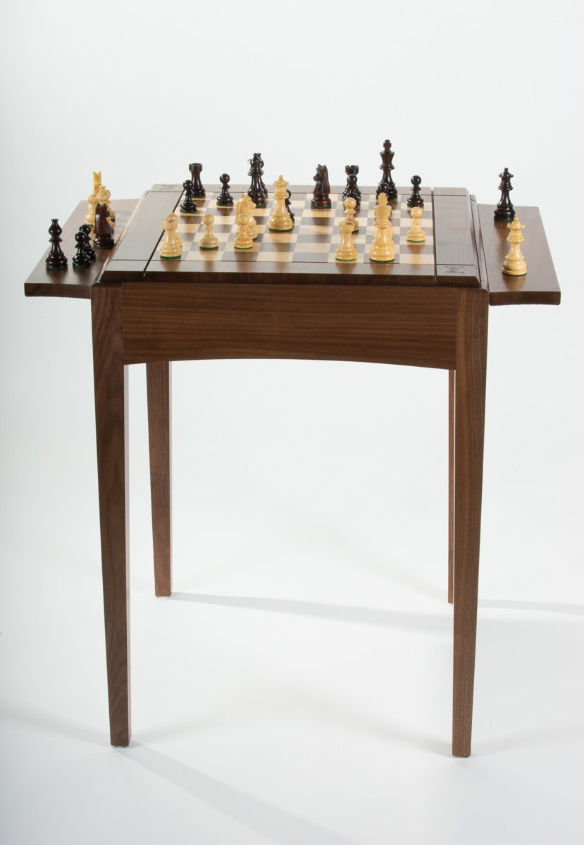 Chess Table Usa Made Walnut Maple Chess Table Space Saving Elegance Chess House