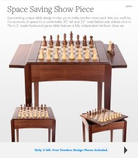 Walnut Player's Chess Table and Board USA