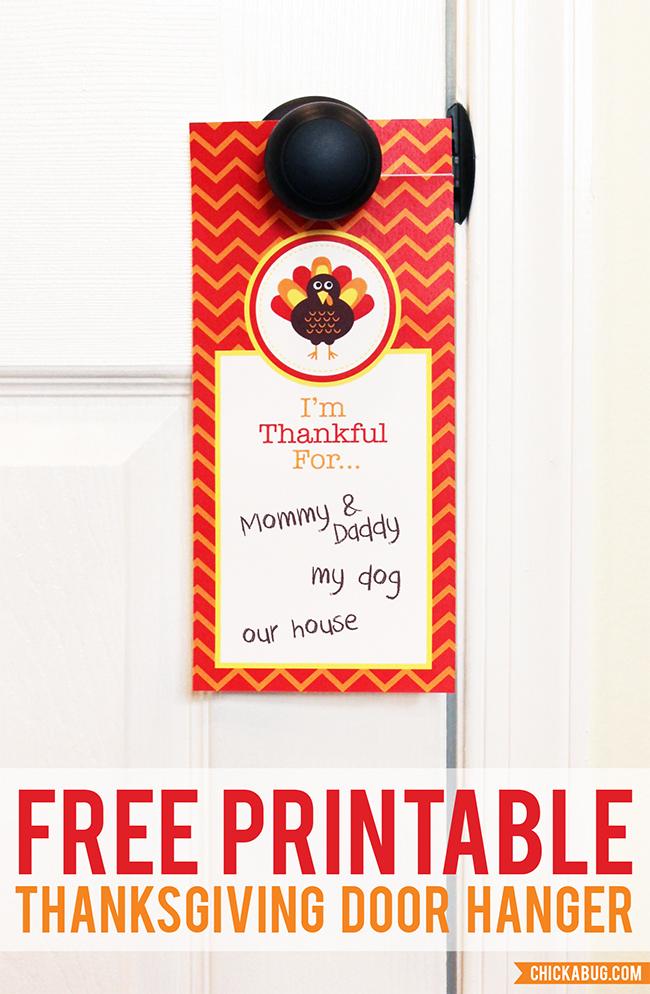 FREE printable Thanksgiving door hanger Chickabug