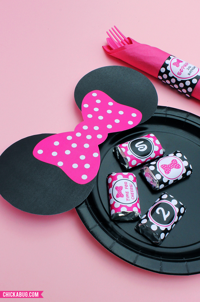 Free printable Minnie Mouse ears for plates - hot pink, baby pink