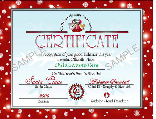 Printable Santa\u0027s Nice List Certificate - Christmas Letter Tips - Christmas Certificates Templates For Word