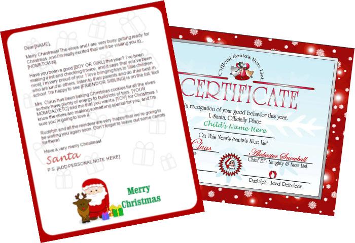 Printable Santa Letters - Santa Claus and Reindeer Design