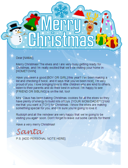 Printable Santa Letters - Personalized, Printable Letters from Santa