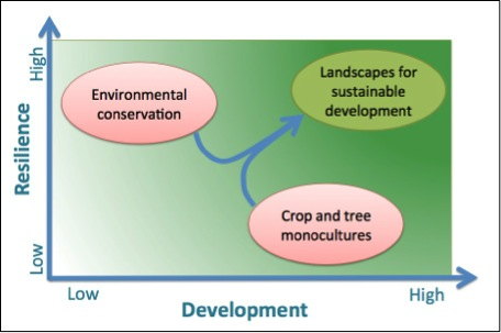 Figure 1. Cadre simplifié pour l'analyse des paysages dans le contexte du développement durable, et la façon dont certaines utilisations des terres peuvent y contribuer.