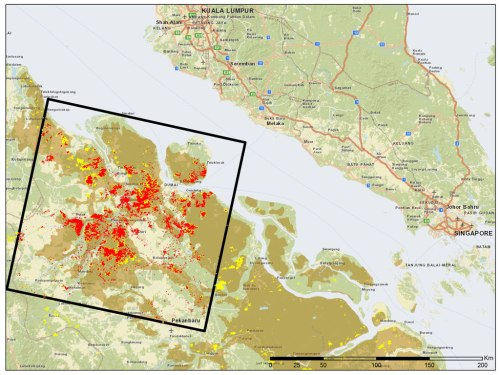 Figure 3. The 100,000 ha area mapped as burned (red) within the worst-affected LANDSAT scene (black box). NASA's fire alerts are marked with yellow points. Not all burned areas are indicated due to cloud and haze cover and missing imagery. Most fires are located on peat soils (brown areas).
