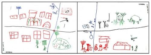 Dibujos de un grupo de pigmeos BaAka en la Republica Gambar oleh kelompok pigmi BaAka di Republik Afrika Tengah. Gambar di kiri menunjukkan situasi merka saat ini. Gambar di kanan menjelaskan harapan mereka di masa depan: alam liar, sekolah dan produk hutan memainkan peran penting. Agni Klintuni Boedhihartono