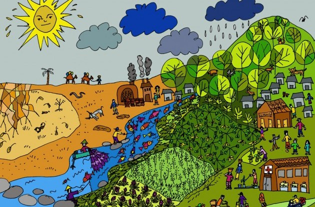 Menggambar bentang lahan sering digunakan untuk mendiskusikan dampak perubahan iklim dengan masyarakat hutan. Agni Klintuni Boedhihartono