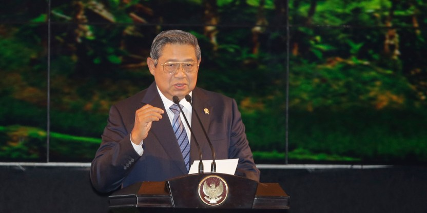 Indonesian President Susilo Bambang Yudhoyono delivers his opening remarks during Forests Asia Summit 2014 at ShangriLa Hotel in Jakarta, Indonesia, Monday, May 5, 2014. (CIFOR)