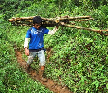 Men from Pangkalan Limus village collect wood from the surrounding forest. Timber is cut on demand and sold to the tea processing factory for 1,500 rupiah (US$0.15) per kg. The timber is taken illegally from around Mount Halimun Salak National Park, West Java, Indonesia.   Photo by Aulia Erlangga for Center for International Forestry Research (CIFOR).
