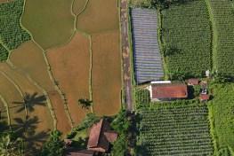 Pandangan udara bentang alam sekeliling Taman Nasional Halimun Salak di Jawa Barat,