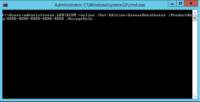 How to upgrade Windows 2012 R2 evaluation to full version
