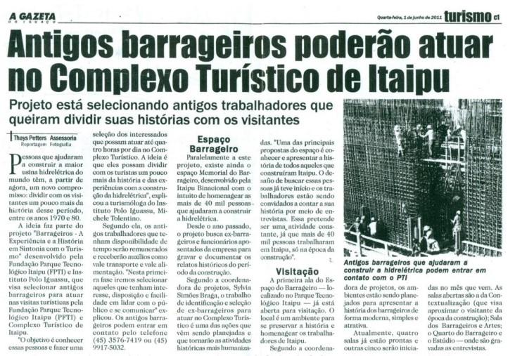 Imagem: Reprodução de matéria publicada no jornal A Gazeta do Iguaçu com texto de Thays Petters.