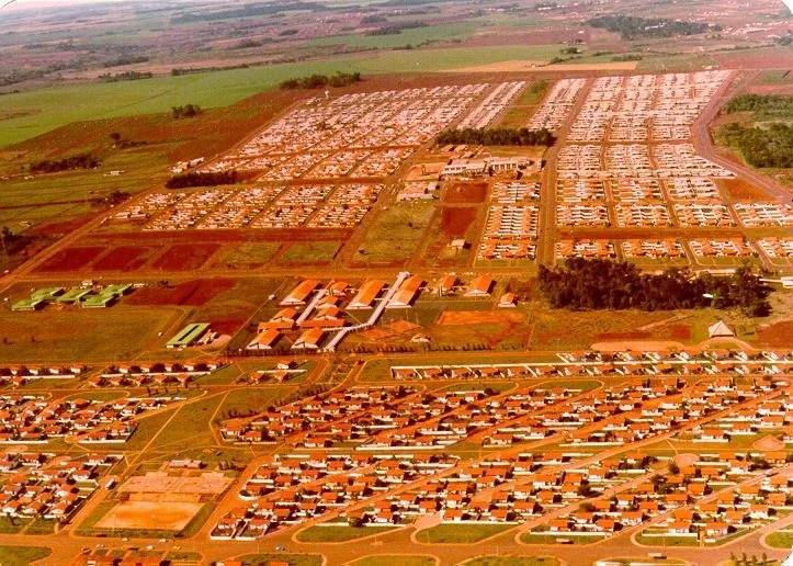 Imagem aérea da Vila A em 1977. Foto: Arquivos da Internet.