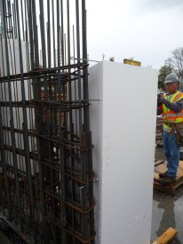 Styrofoam is placed in the wall to create a void where ducts are not required.