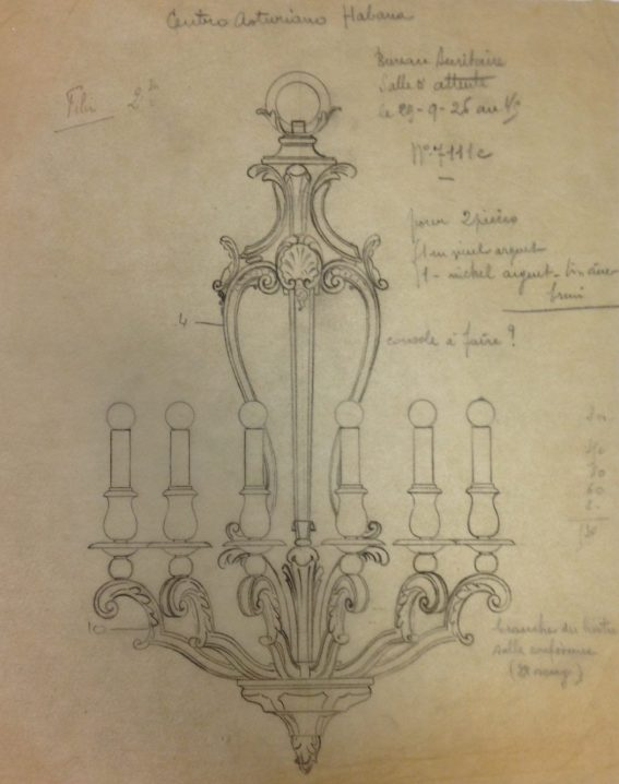 Design drawing for lighting fixture in waiting room for Secretary