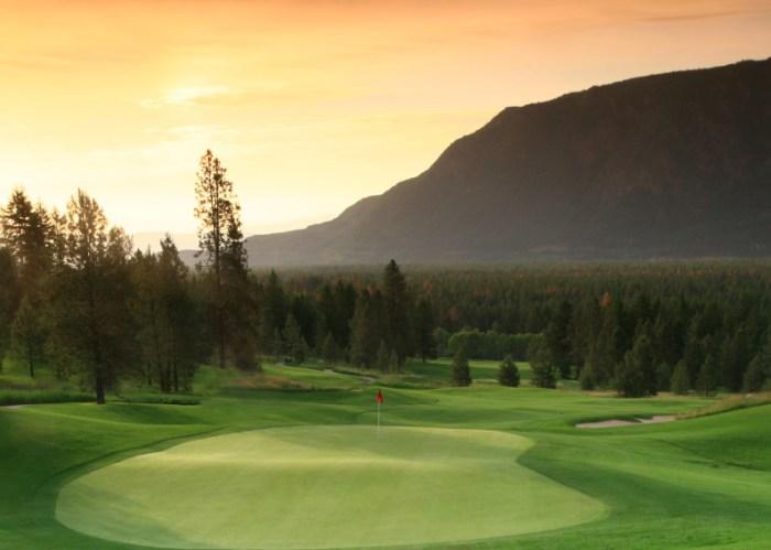 Beautiful backlit golf green
