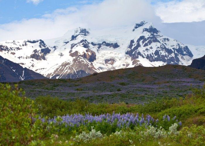 Iceland mountain range in spring