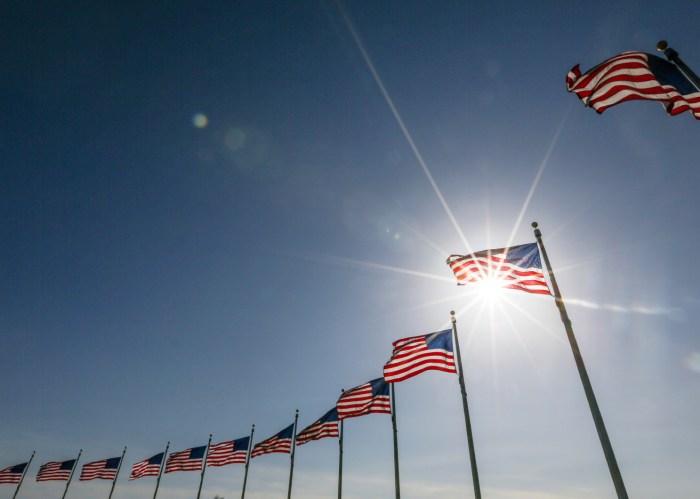 American Flag display commemorating national holiday memorial day. memorial day preparation.