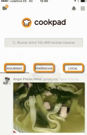 Parte pública de la App de Cookpad