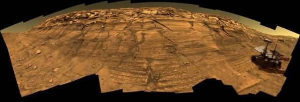 Simulated image of Opportunity on 'Burns Cliff', Mars. Image: NASA.