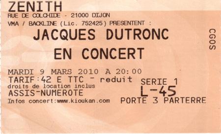 Le billet du concert de Dutronc
