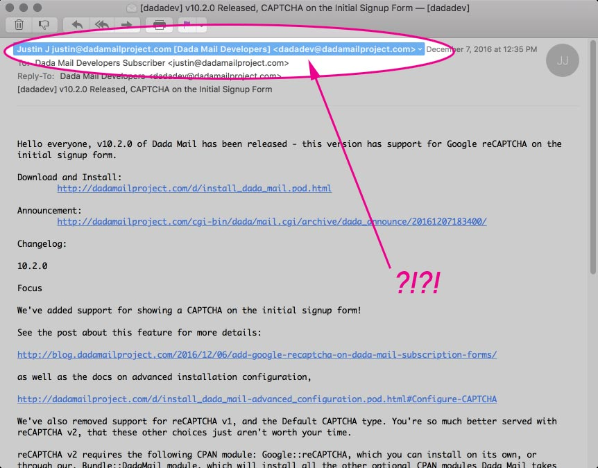 Discussion Lists Why is the From header being rewritten? \u2013 Dada