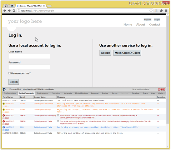 Example of Glimpse for DotNetOpenAuth