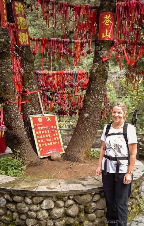 Prayer ribbon shrine Mt Cangshan Dali