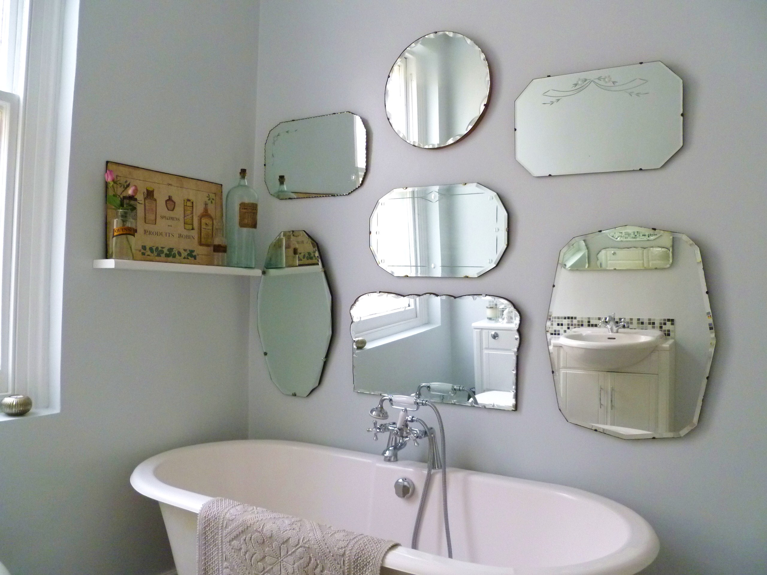 Bathroom Mirror Fixings How To Hang A Display Of Vintage Mirrors Decorator 39s