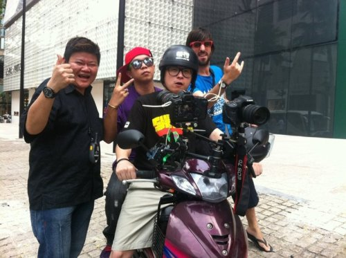Dj Point, olivier dressen aka Hero, Ping and Mc bee from Manhand on the shooting of Old Budy in Kuala Lumpur, Malaysia