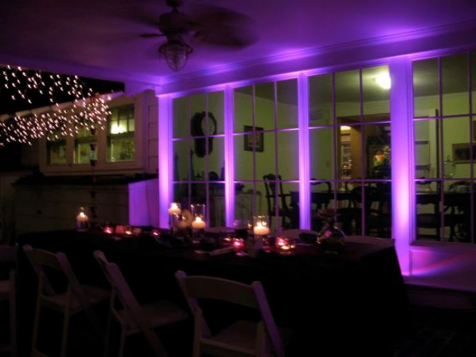 purple wedding up lights