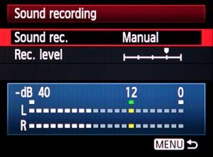 sound audio recording level manual adjust