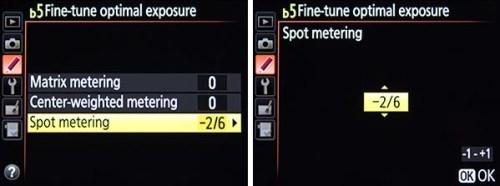 Nikon D7100 fine tume metering mode