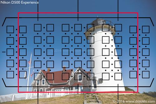 Nikon D500 viewfinder autofocus AF points crop 1.3x grid