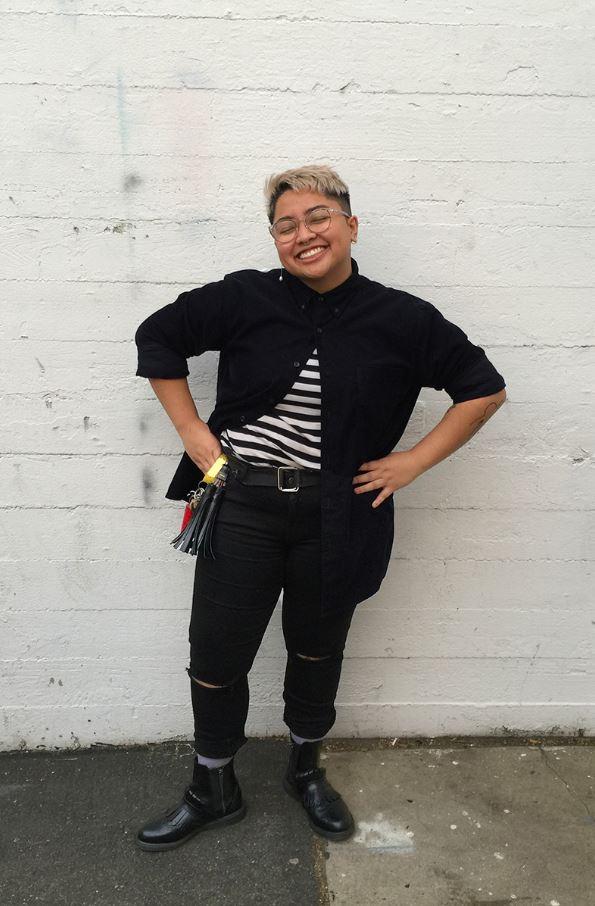 Renee wears the Tina boot in black.
