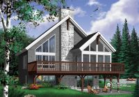 A very popular rustic chalet house plan with mezzanine ...