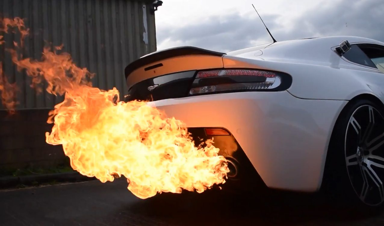 Lamborgini Sports Car Hd Wallpaper Aston Martin Shoots Three Foot Flames