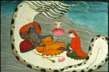Vishnu and Lakshmi on Shesha Naga