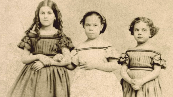1863 albumen print, carte-de-visite: 'Rebecca, Augusta and Rosa. Slave Children from New Orleans'. Image courtesy of George Eastman Museum.