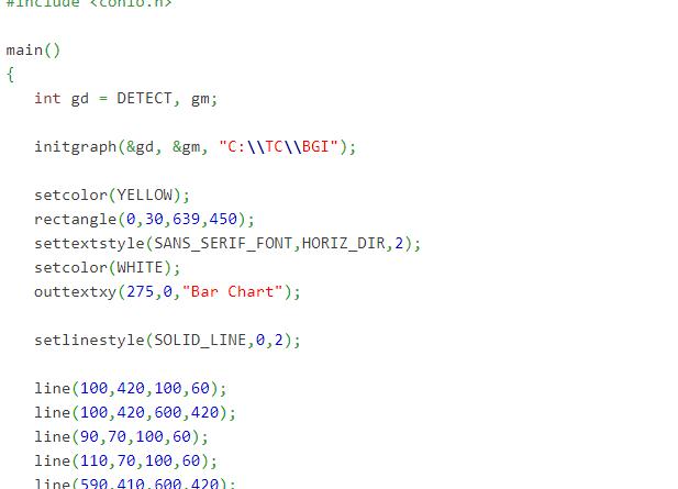 bar chart program in c
