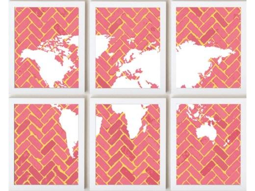 world map on chevron