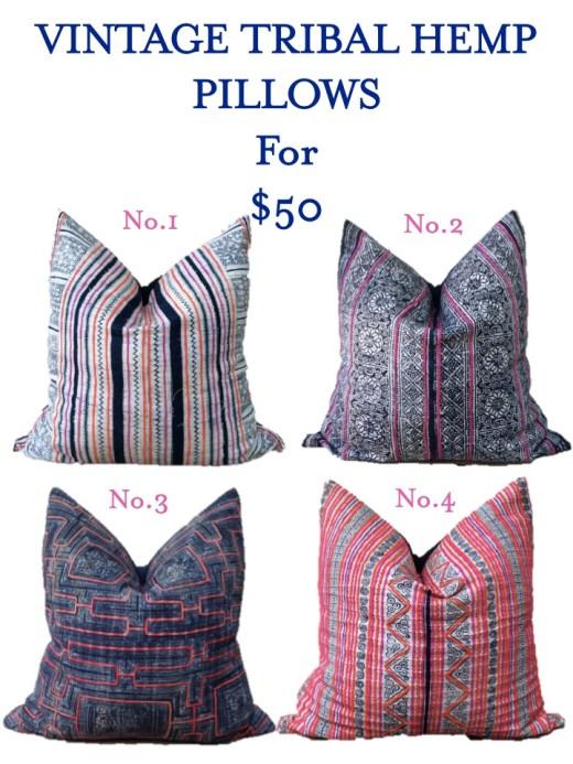 vintage tribal hemp pillow