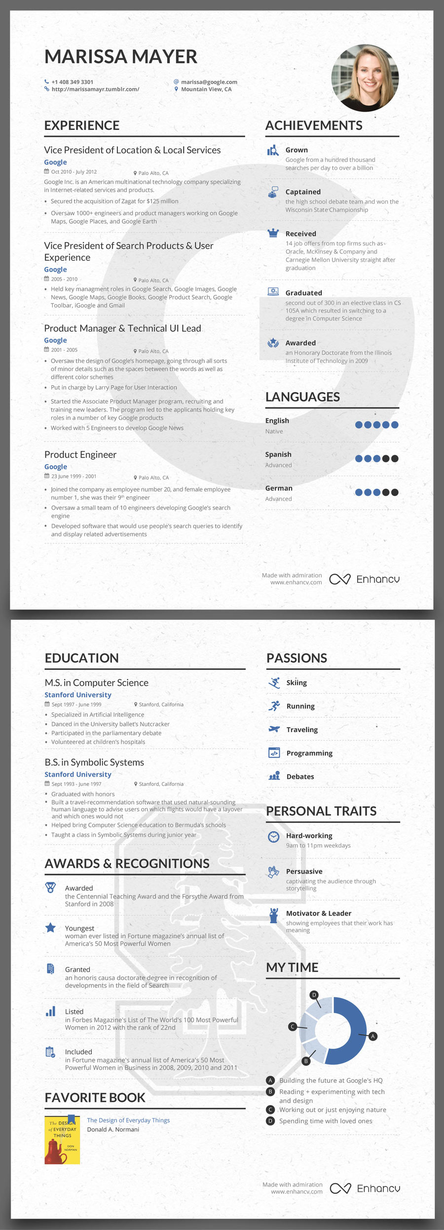 cv marissa mayer template