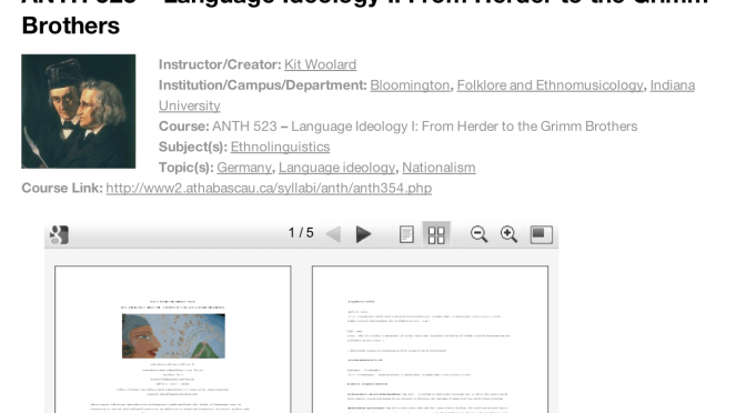 Syllabus Display Screenshot