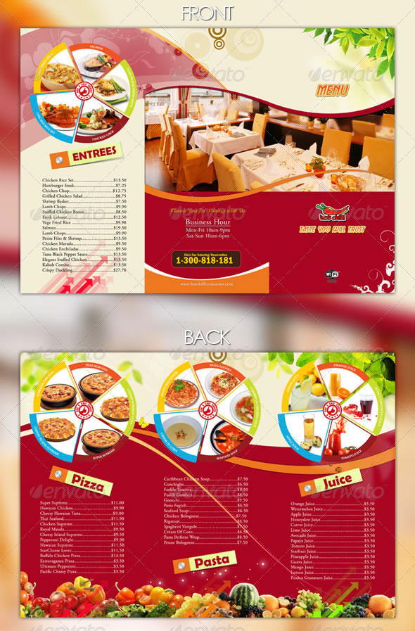 Indian Restaurant Menu set - A4 \ Trifold - GraphicRiver Previewer - how to make a food menu on microsoft word