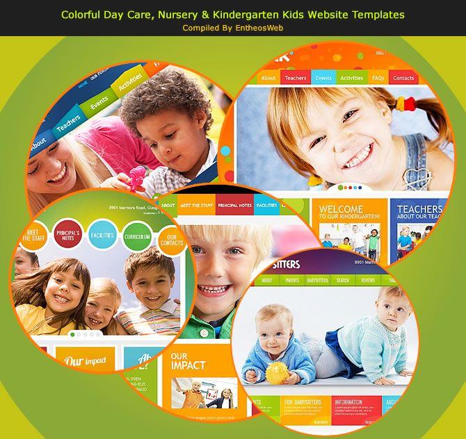 Colorful Day Care, Nursery  Kindergarten Kids Website Templates