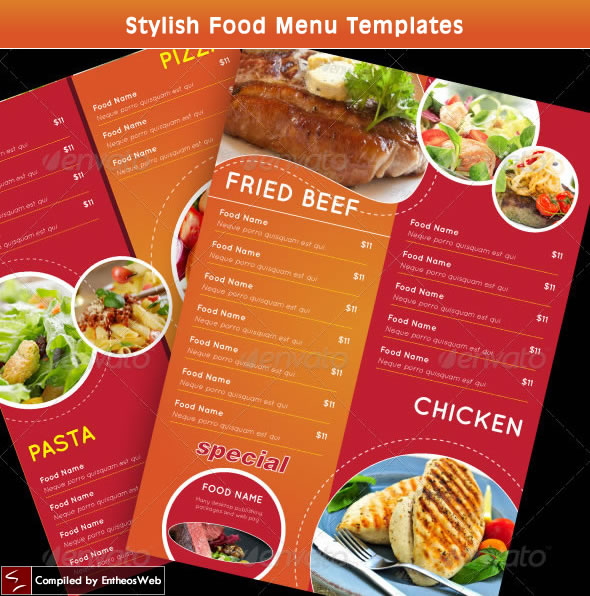 Stylish Food Menu Templates Entheos - food menu template